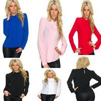 Damen Raffung Langarm Bluse Shirts Hemd Tops Mode S 34 36 38  Tunika Oberteile