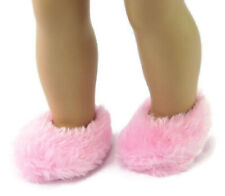 "Pink Fuzzy Slippers Doll Clothes Accessories For 18"" American Girl"