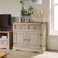 Corona Grey Storage Cupboard Solid Pine 2 Drawer 2 Door Wooden Mexican Cabinet