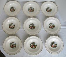 "Vintage Harker Pottery - Lot of 9 Rimmed Soup Bowls - 8"" - Godey Courting Couple"