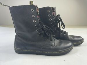 DOC DR MARTENS Stratford Womens 7 boots Floral Black Leather Fold Down Combat