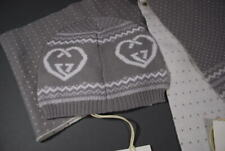 Gucci Kids Hat Scarf Set 100% Soft Tricot Wool S M Heart GG NWT
