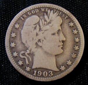 1903-S 25C Barber Liberty Head Silver Quarter AN9