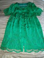 Unique Emerald green dress , 100 % silk ,embroidered & fully lined ,size 8/10UK