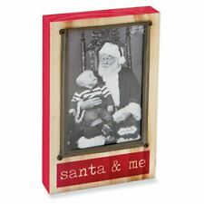 Mud Pie Santa And Me Wooden Block Christmas Picture Frame For 4 X 6 Photo