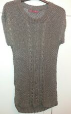 Next long tunic style short sleeve taupe jumper with metalic thread