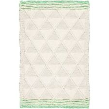 Plantation Knit One Purl One Rugs In Natural & Green, Blanket Style 150x230cm