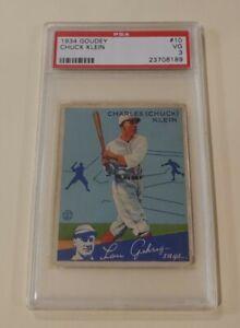 1934 Goudey #10 CHUCK KLEIN graded PSA 3 VG - HOF - Cubs - Phillies