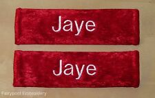 Two Red Personalised Embroidered Seat Belt Pad Covers