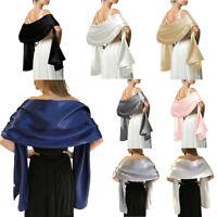Soft Silky Satin Scarf Shawl Stole Ladies Gifts Bridal Bridesmaid Party 45x175cm