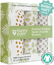 Muslin Swaddle Blanket for Baby Set of 3 unisex blankets, 100% Organic Bamboo