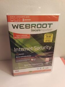 Webroot Secure Anywhere Internet Security 3 Devices (PC/Mac, 2015) New