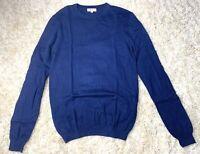 Reiss Men Navy Blue Wool Crew Neck Fine Knit Jumper Small