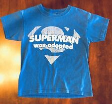 Superman Was Adopted Blue T-Shirt, Size S youth, boys Or Girls EUC! DC Comics