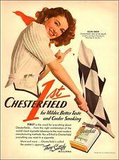 1941 vintage tobacco AD CHESTERFIELD Cigarettes, Ellen Drew Pretty model  082917