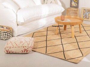 Rug 100% Natural Jute Rustic look Braided style Handmade Area Carpet Runner Rug