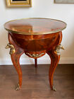RARE Antique Round Table Half Globe Wood Inlay Marquetry Vienna Biedermeier