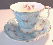 "Royal Albert Cup & Saucer ""True Love"" Pattern Bone China Blue/Pink Roses England"
