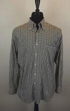 Peter Millar Mens Shirt L Large Green Plaid Brown Long Sleeve L/S Dress Btn Down