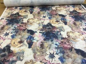 Edinburgh Weavers CECILIA INDIGO Floral Linen Fabric Upholstery/Curtains