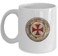 Knights Templar masonic coffee mug - Non nobis domine motto - Temple cross cup