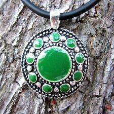 E116 Pendant Tibet Fashion Jewelry Green Men Pewter Women Tibetan Necklace Free