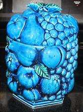 Vintage Inarco Blue Indigo Cobalt Fruit Design Cookie Jar Canister 1950 1960 Era