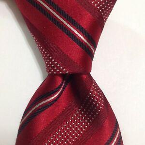 ERMENEGILDO ZEGNA Mens 100% Silk Necktie ITALY Luxury STRIPED Red/Blue/White EUC