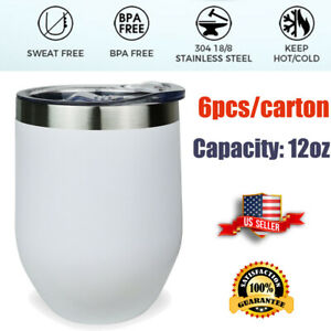 6PCS/CTN 12oz Wine Tumbler Coffe Mug Laser Engraving Insulated Bottle Travel Cup