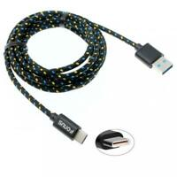 6FT LONG TYPE-C USB-C CABLE POWER WIRE FAST CHARGE SYNC USB CORD - BLACK BRAIDED