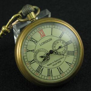 Luxury Antique Rare Brass Mechanical FOB Pocket Watch Pendant Vintage Gift Men's