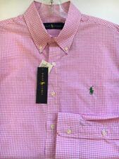 Ralph Lauren Pink Gingham Check Button Shirt Long sleeve Classic Green Pony L