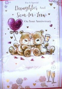 """Cute Bears Holding Heart Balloon """"DAUGHTER & SON~IN~LAW"""" Anniversary Card"""