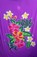 Sarong Hand Painted Bali Purple Floral Pareo Dress Skirt  Beach Cover Up Wrap