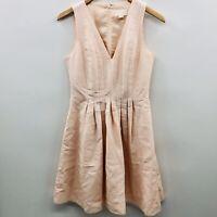 J Crew Bridesmaid Womens Size 2 Sleeveless V Neck Pleated Knee Length Dress Pink
