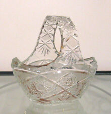 Vintage Cut Lead Crystal Polish Egg Candy Centerpiece Basket