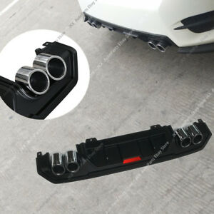 BLACK PP Rear Bumper Lip Diffuser Body w/ Exhaust For Honda Civic Sedan 2016-20
