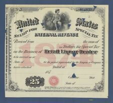 Special Tax Stamp - 1874, 1876, 1877 - Retail Liquor Dealer - Issued in Wyoming