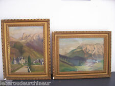 Peinture signée Clercq 1950. Painting signed Clercq 1950 vue montagne 1950