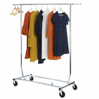 Heavy Duty Adjustable Single Rail Rolling Garment Rack Clothes Dry Hanging Rack