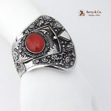 Antique Chinese Export Sterling Silver Large Cuff Bracelet Carnelian 1910