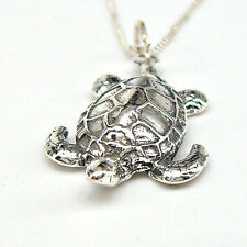 Solid 925 Sterling Silver SEA TURTLE Charm Pendant Beach Vacation Ocean NECKLACE
