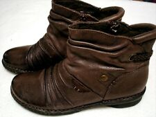 """EARTH ORIGINS Leather Ruching Ankle Zip Boots brown women's 10 """" Mira """""""