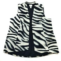 Chico's Open Front Vest Womens Size 3 Wool Blend Zebra Print