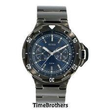 NEW GUESS WATCH for Men * IP Black SS Case & Bracelet Pearlescent Blue U15004G2