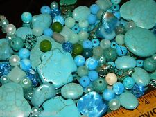 NEW RANDOM 4/oz  BLUE'S 6-12mm MIXED LOOSE Bead Lot Gemstone, Pearls, GLASS