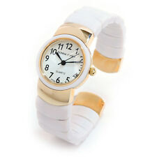 White Gold Spring Band Women's Bangle Cuff Watch