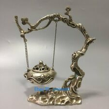 Collection Old Tibet Silver Hand Carved Hanging Incense Burners w Qianlong Marks