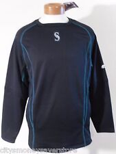 NWT Majestic Seattle Mariners Mens OnField Pullover Sweatshirt M Navy MSRP$80