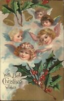Christmas - Little Angel Faces Holly & Bells c1910 Postcard